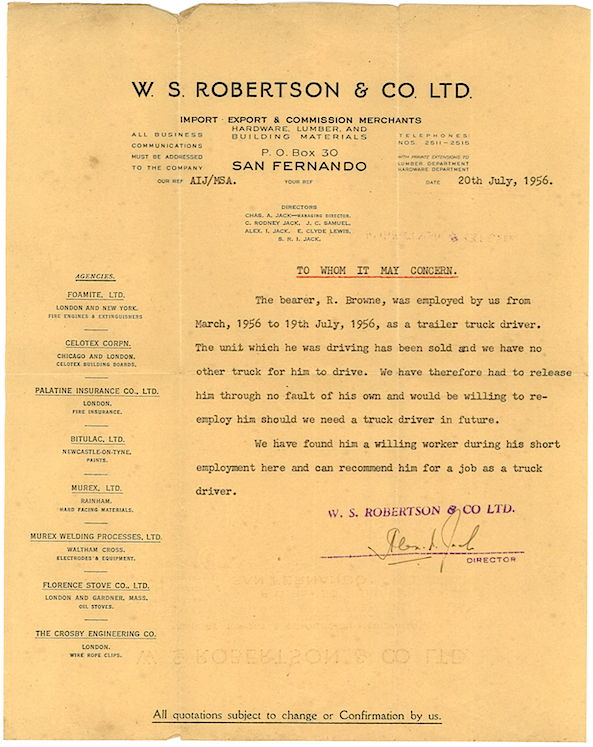 Radcliffe Browne recommendation letter from W.S Robertson & Company Limited, 1956. The Caribbean Memory Project, People, Radcliffe Browne, Portraits, Biographies, Histories, Your Stories, Audio, Video, Family Tree, documents,